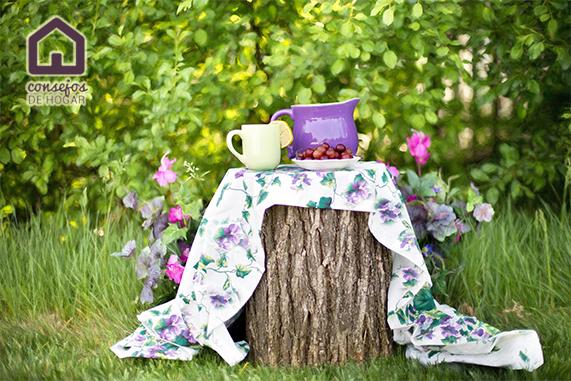 Bodegón con frutas y jarras en el jardín para ilustrar las tareas de cuidado y mantenimiento del jardín en mayo